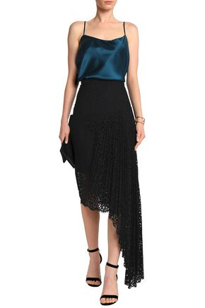 MILLY Asymmetric pleated corded lace skirt