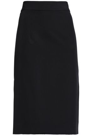 MILLY Bow-detailed cady skirt