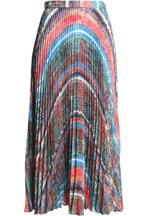MARCO DE VINCENZO Pleated printed jacquard midi skirt