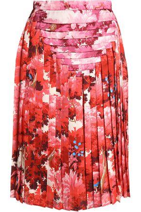 MARCO DE VINCENZO Pleated printed satin skirt