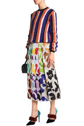 MARCO DE VINCENZO Pleated printed satin midi skirt