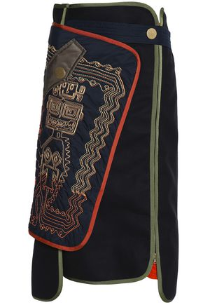 PETER PILOTTO Paneled embroidered wool-blend midi skirt