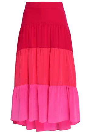 PETER PILOTTO Color-block silk crepe de chine midi skirt