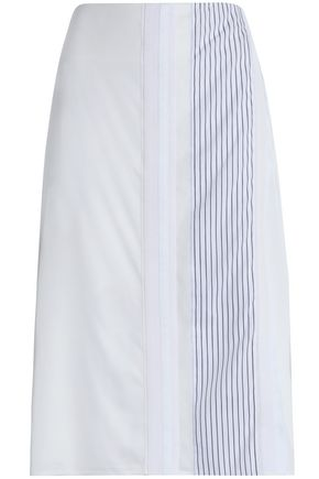 VICTORIA, VICTORIA BECKHAM Grosgrain-trimmed paneled canvas skirt