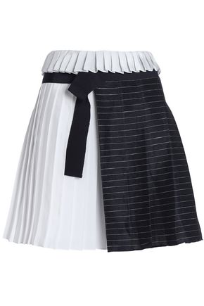 VICTORIA, VICTORIA BECKHAM Paneled striped linen-blend and satin mini skirt