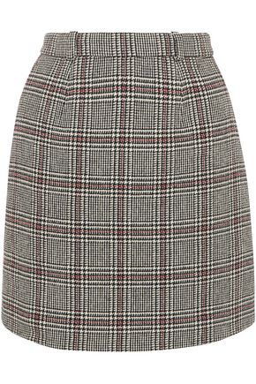 CARVEN Prince of Wales checked wool-blend mini skirt