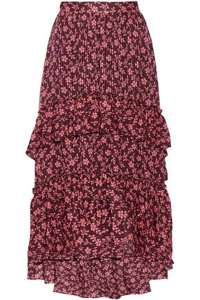 ULLA JOHNSON Tiered cotton and silk-blend floral-jacquard midi skirt