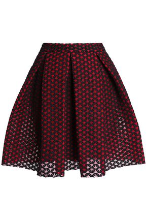 MAJE Pleated embroidered mesh mini skirt