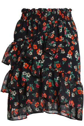MAJE Ruffled floral-print georgette mini skirt