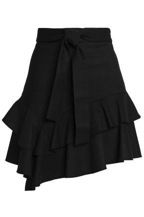 Ruffled Stretch Wool Twill Mini Skirt by Maje