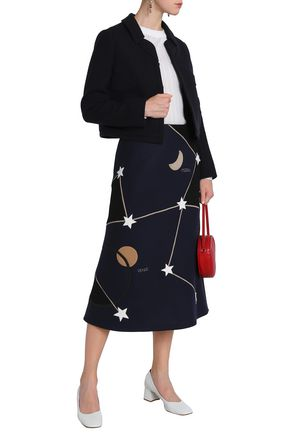 VALENTINO GARAVANI Appliquéd embroidered wool-blend midi dress