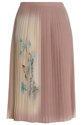 VALENTINO GARAVANI Pleated printed silk midi skirt