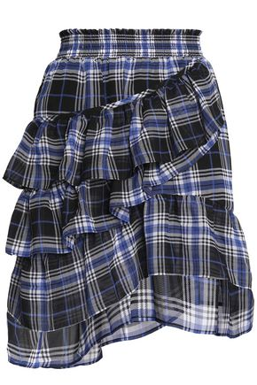 MAJE Ruffled checked voile mini skirt