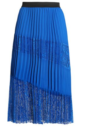 MAJE Lace-paneled pleated crepe skirt
