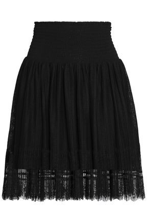 MAJE Lace-trimmed pleated point d'esprit mini skirt