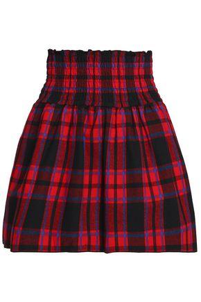 MAJE Checked cotton-flannel mini skirt