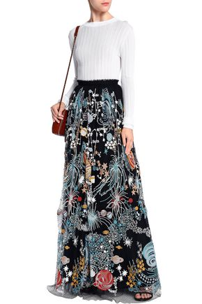 VALENTINO Embroidered net and tulle maxi skirt