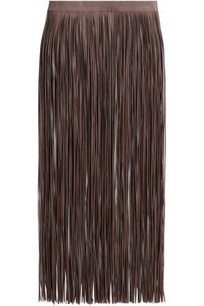 VALENTINO GARAVANI تنورة متوسطة الطول من الجلد مزيّنة بأهداب منسدلة