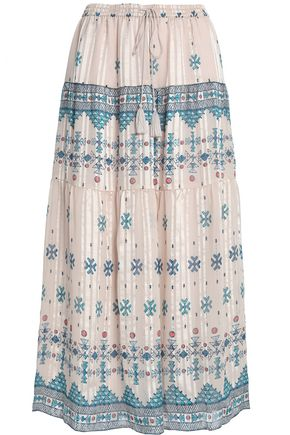 JOIE Tasseled printed silk-blend midi skirt