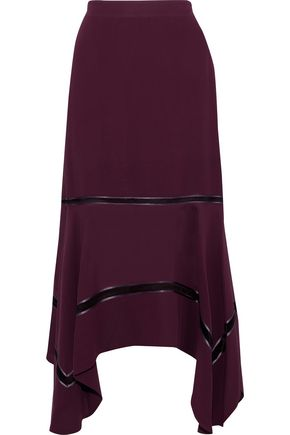 DEREK LAM Open-knit and satin-trimmed silk crepe de chine skirt