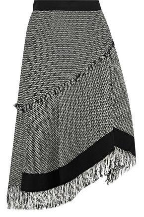DEREK LAM Asymmetric fringed cotton and linen-blend tweed skirt