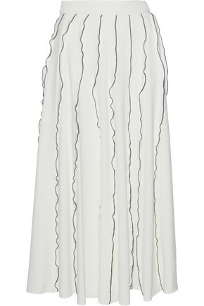 DEREK LAM Ruffle-trimmed pleated crepe midi skirt