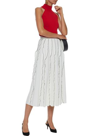 DEREK LAM Ruffle-trimmed pleated crepe midi skirt