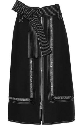 DEREK LAM Belted open knit-trimmed ponte skirt