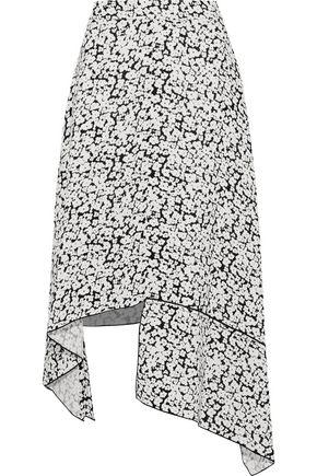 DEREK LAM Asymmetric floral-print silk crepe de chine skirt