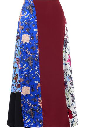 DIANE VON FURSTENBERG Crepe-paneled printed silk crepe de chine midi skirt