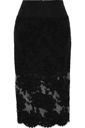 FLEUR DU MAL Paneled wool-blend crepe and embroidered tulle skirt