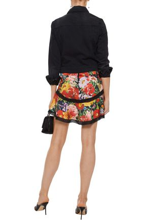 ALICE + OLIVIA Eriko lace-trimmed floral-print cotton-blend mini skirt