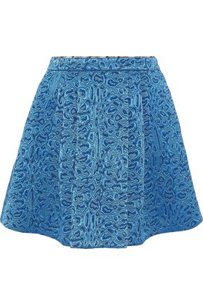 ROBERTO CAVALLI Pleated wool and silk-blend jacquard mini skirt
