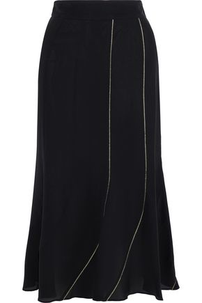 ROBERTO CAVALLI Metallic-trimmed silk skirt
