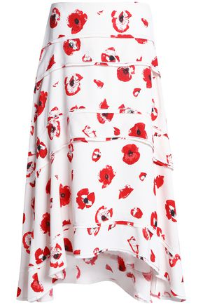 PROENZA SCHOULER Tiered printed crepe midi skirt