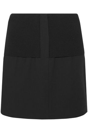 TIBI Ribbed knit-paneled crepe mini skirt
