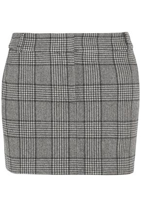 TIBI Prince of Wales checked wool-blend mini skirt