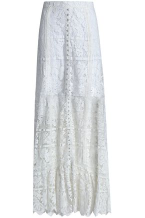 NICHOLAS Crochet-trimmed cotton-blend corded lace maxi skirt