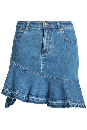 NICHOLAS Asymmetric ruffle-trimmed denim mini skirt