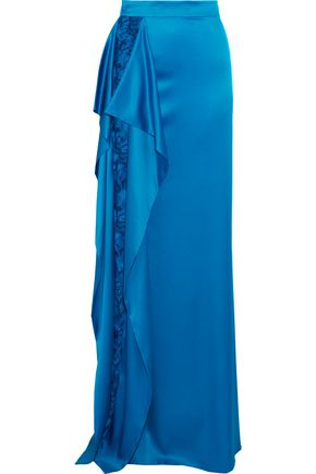 ROBERTO CAVALLI Draped lace-paneled stretch-silk satin maxi skirt