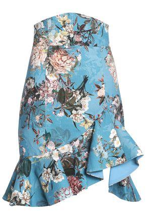 NICHOLAS Arielle ruffled floral-print cotton-blend jacquard skirt