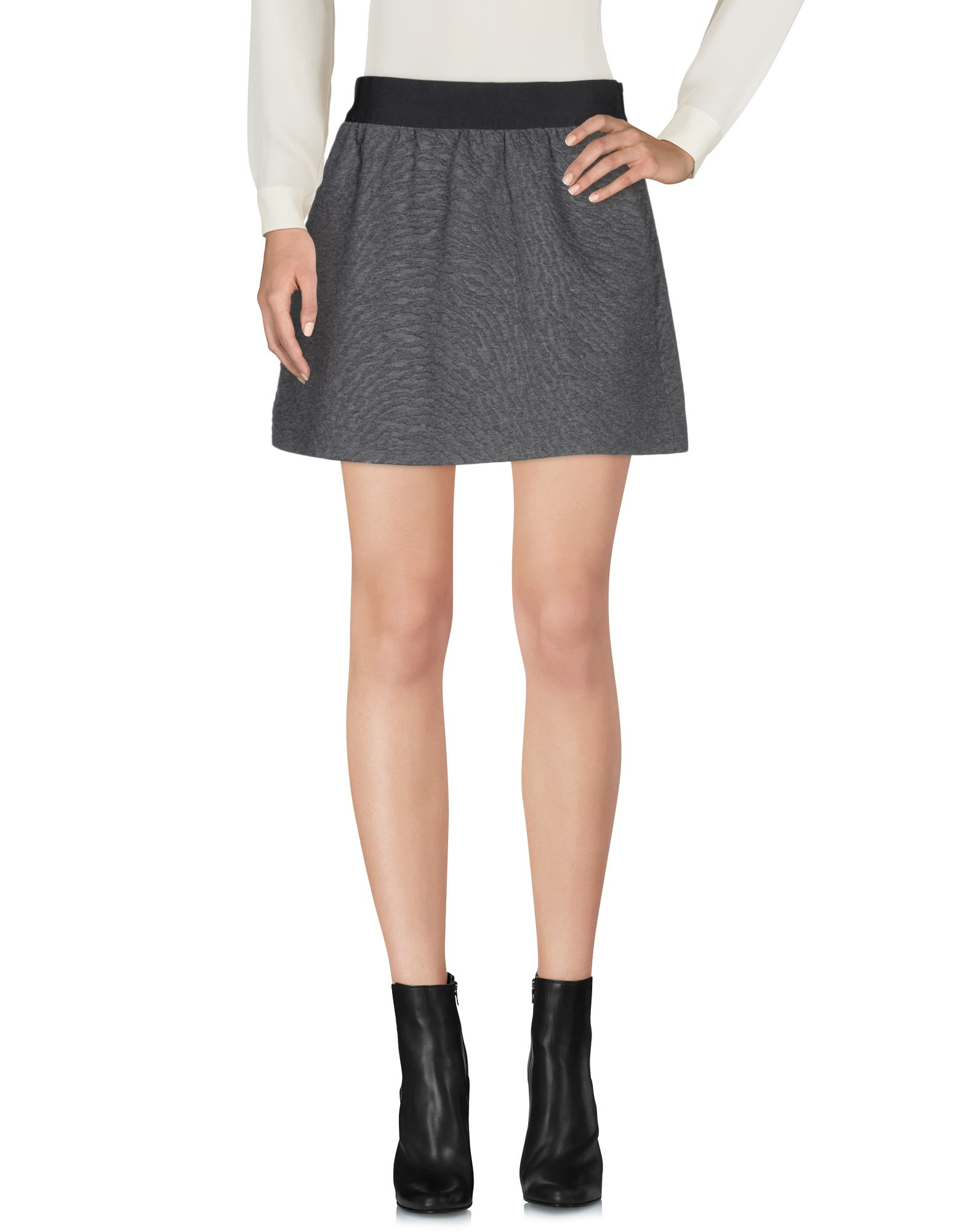 NEIL BARRETT Mini skirts. jacquard, jersey, no appliqués, solid color, multipockets, elasticized waist, fully lined, side closure, hook-and-bar, zip, stretch, trapeze style. 98% Cotton, 2% Elastane