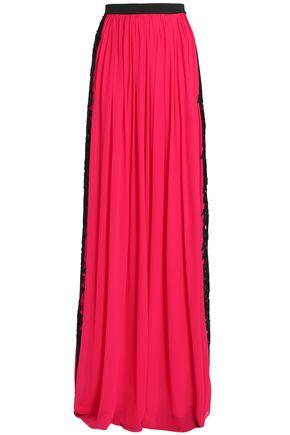 ZUHAIR MURAD Lace-trimmed silk-blend crepe maxi skirt