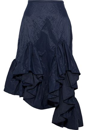 MARQUES' ALMEIDA Asymmetric ruffled metallic shell skirt
