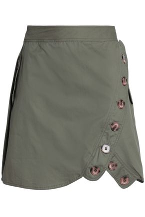 W118 by WALTER BAKER Button-detailed cotton mini skirt