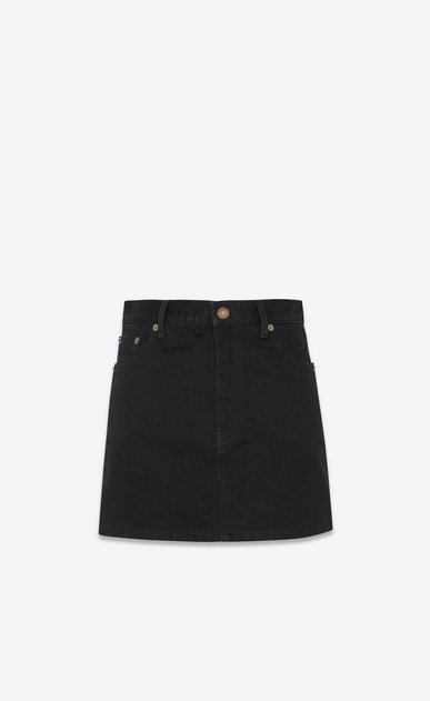 SAINT LAURENT Short Skirts Woman studded pocket denim skirt a_V4