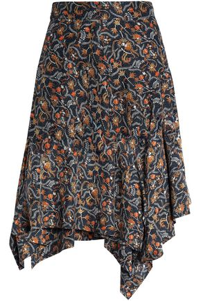 ISABEL MARANT Asymmetric printed silk skirt