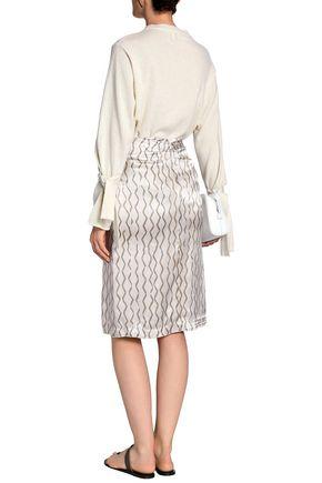 ISABEL MARANT Ruched printed hammered-silk skirt