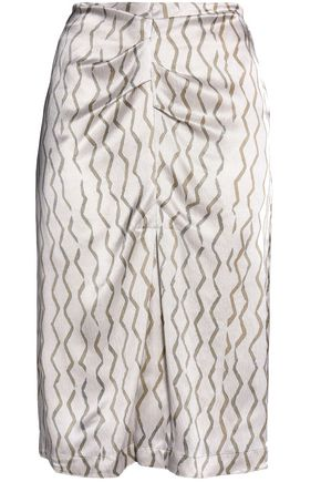 ISABEL MARANT Ruched printed hammered-silk skirt