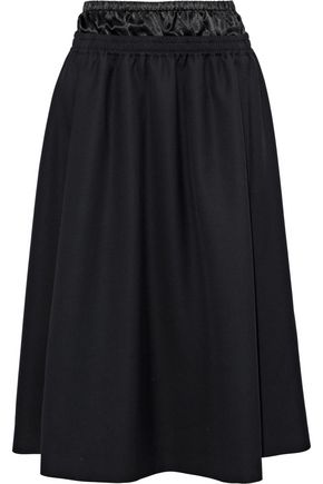 ACNE STUDIOS Satin-paneled wool-twill skirt